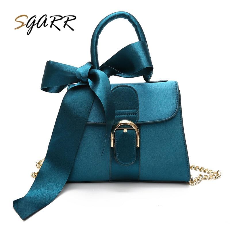 SGARR New Fashion Women Handbag Bow High Quality PU Leather Shoulder Bags Woman Messenger Bag Black Pink Green Brown Crossbody