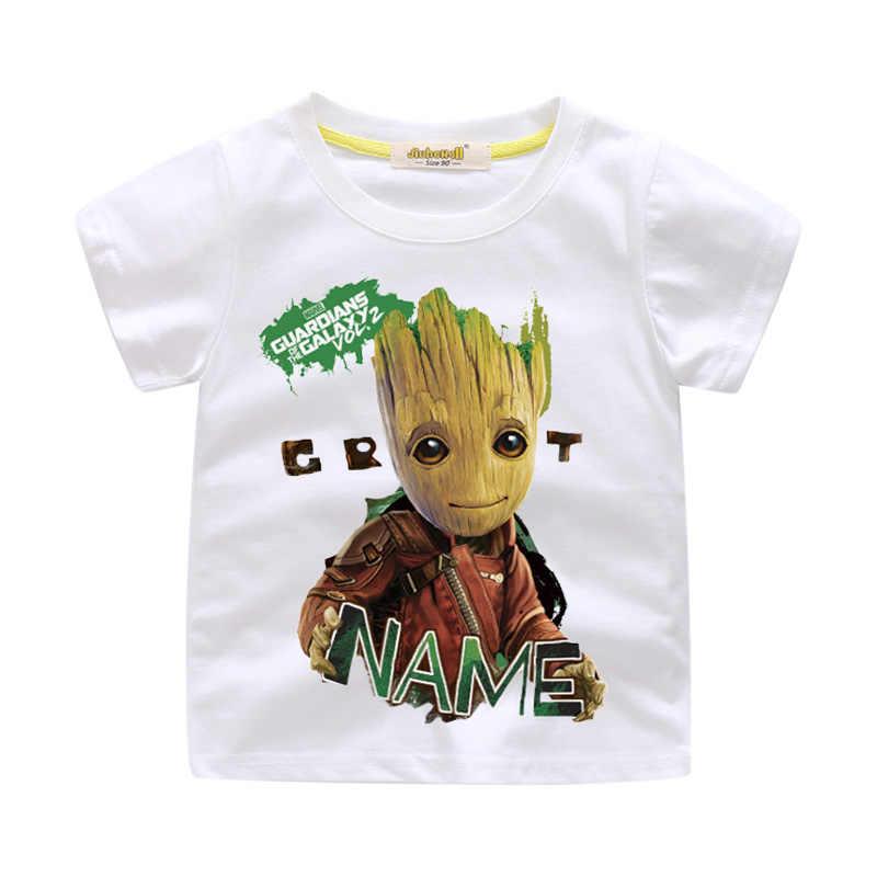 7c3ed3284 Niños verano corto dibujos animados bebé Groot camiseta ropa para niño  camiseta chica camisetas 3D I