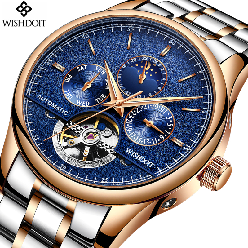 Mens Watches Top Brand Luxury Automatic Mechanical Watch Men Full Steel Business Waterproof Sport Watches men Relogio Masculino tevise men watch luxury gold full steel automatic mechanical waterproof watches with date mens wristwatch relogio masculino