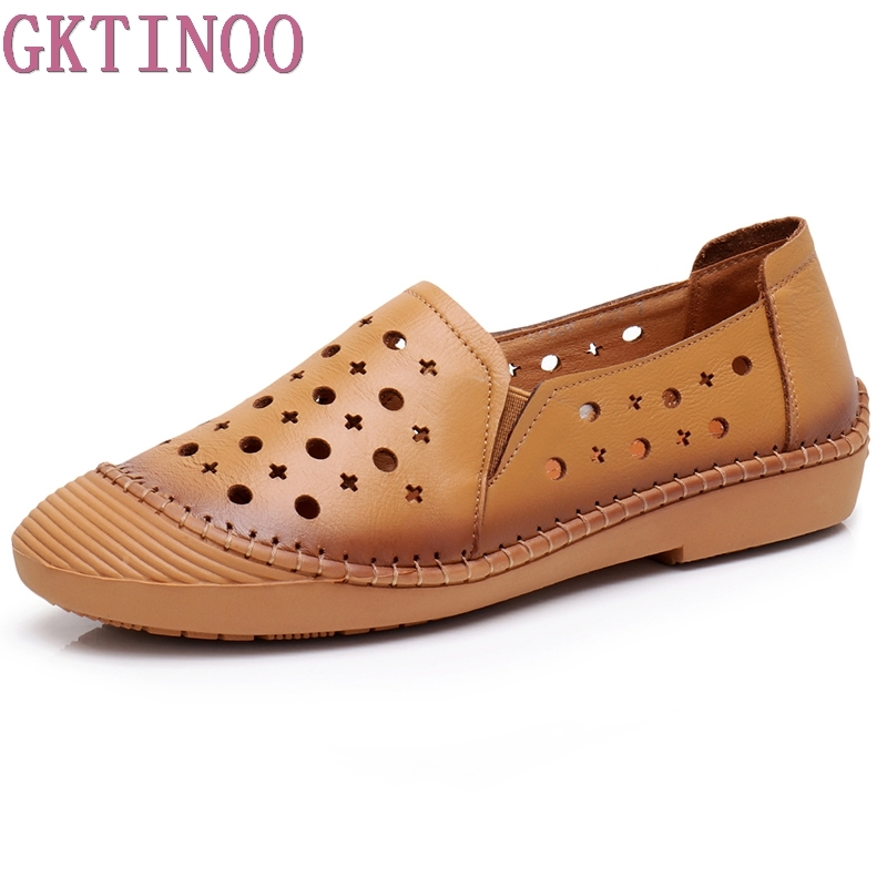 GKTINOO Cut Out Women's Casual Shoes Genuine Leather Woman Loafers Slip On Female Flats Ladies Summer Shoe Solid Mother Shoes lanshulan bling glitters slippers 2017 summer flip flops platform shoes woman creepers slip on flats casual wedges gold