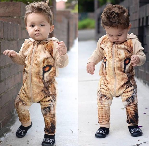New 0-2 Years Baby Jumpsuit Clothes Baby Winter Romper High Quality Soft Cotton Lion Rompers Baby Climbing Cothes Lion Romper