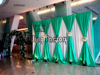 Nice Looking Wedding Backdrop Curtain Swag Drape 10ft*10ft white back curtain with green drapes