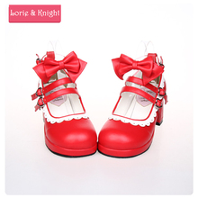 Lolita Maid Cosplay Shoes Red Leather Buckle Straps Princess Sweet Girls Pumps with White Lace and Bow