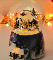 Christmas New Year Clockwork Type Ballerina Music Boxes Snow Crystal Ball Box Music Box Gift for XMas Valentine's Day