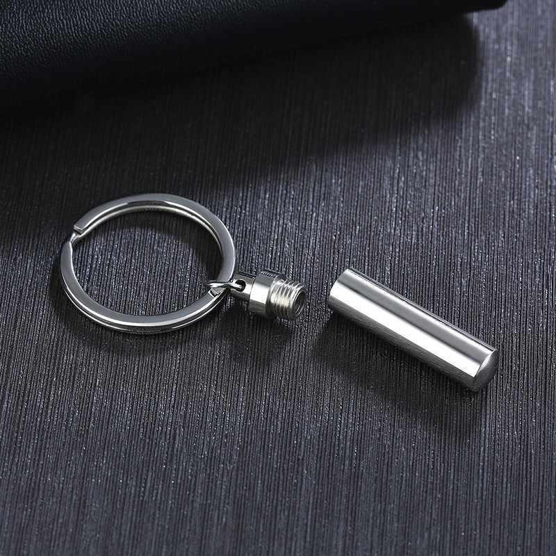 Vnox personalizado gravar oco tubo chaveiro para homem cinzas de aço inoxidável lembrança memorial jóias