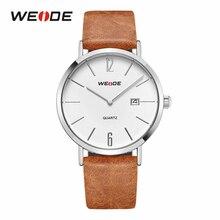 Weide Casual Fashion Men Quartz Movement Calendar Leather Strap Belt Bracelet Wrist Watch  Montres Hour Clock Relogio Masculino