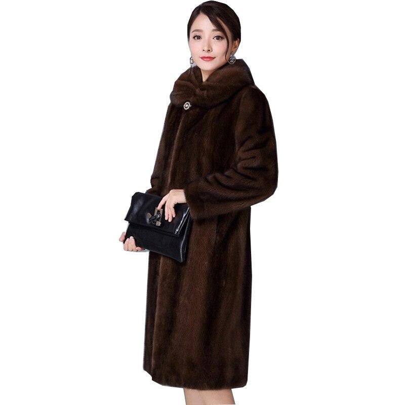 De Paragraphe En Imitation 2018 Veste Vison Hiver Mode Fourrure Long Élégante Dame Daim Black Manteau Femmes brown Femelle Artificielle qwIOw8