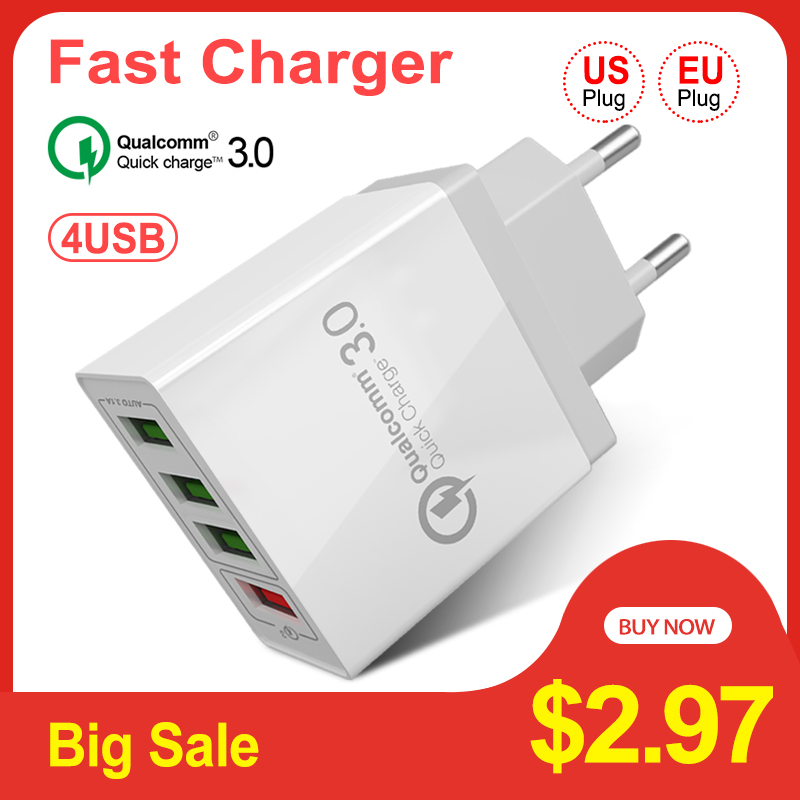 Quick Charge 3.0 USB Charger QC 3.0 Fast Charging 4 Port Plug Mobile Phone Charger for iPhone X Samsung S8 Xiaomi
