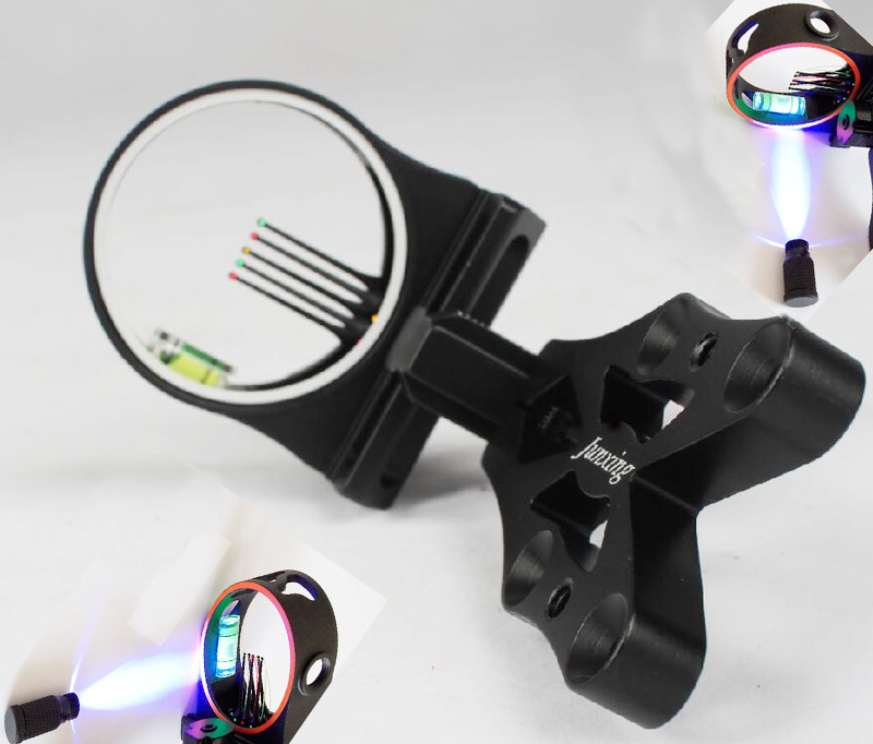 Image 2 - Crossbow Hunting Compound Bow 5 pin Bow Sight Led light Bow Sights For recurve bow Hunting Bow Sights Archery Accessories-in Bow & Arrow from Sports & Entertainment