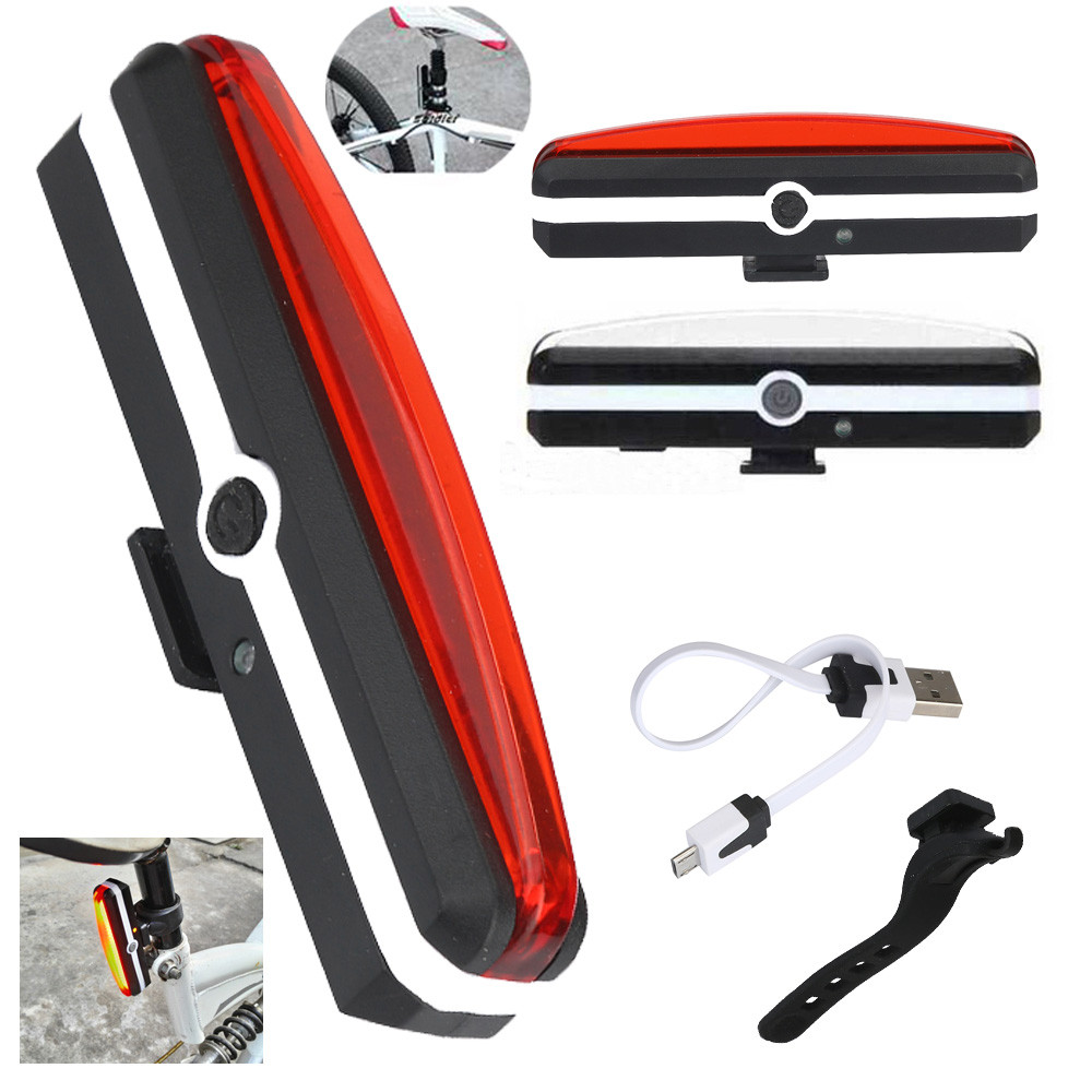USB Rechargeable LED Bicycle Bike Cycling Front Rear Tail Frame Light 6 Modes Lamp Set Silicone Strap White or Red Light P30