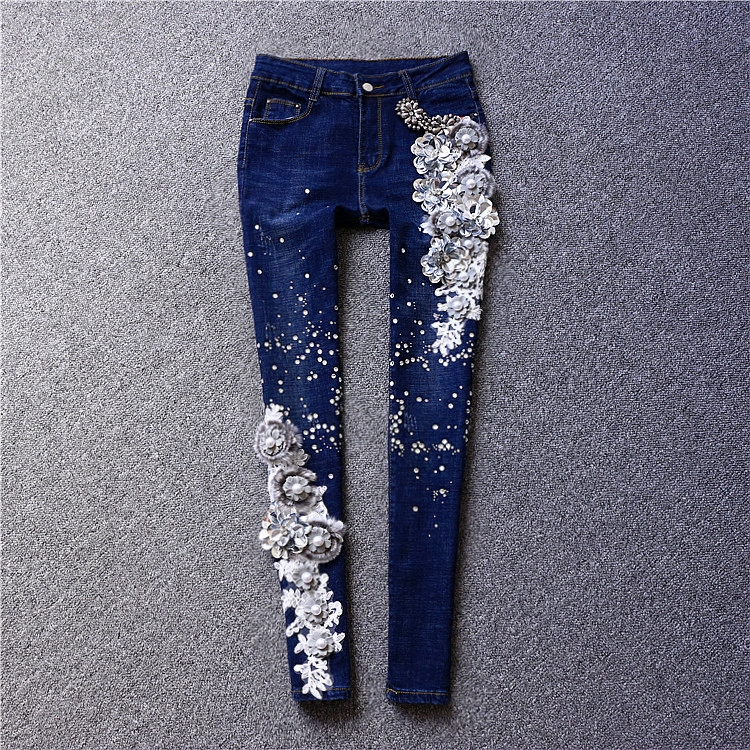 Brand fashion women's high-end luxury embroidery flowers sequins diamond-studded pencil jeans trousers a three dimensional embroidery of flowers trees and fruits chinese embroidery handmade art design book