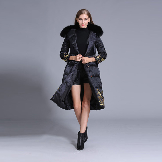 Luxury Down Jacket 2016 Winter Famous New Long Sleeve Elegant Belt Embroidery New Top Grade Down With Hat