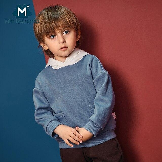 מיני Balabala ילדים הסווטשרט סווטשירט פעוט בני ניגודיות סלעית כותנה תרמית סוודר ילדים להאריך ימים יותר בגדי בגדים 2-7 T