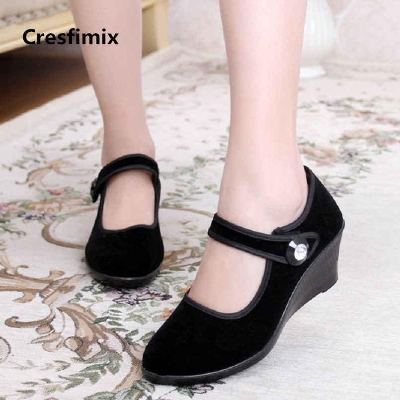 Cresfimix woman fashion comfortable black dance shoes lady hotel work shoes female height increased wedge heel shoes a2387Cresfimix woman fashion comfortable black dance shoes lady hotel work shoes female height increased wedge heel shoes a2387