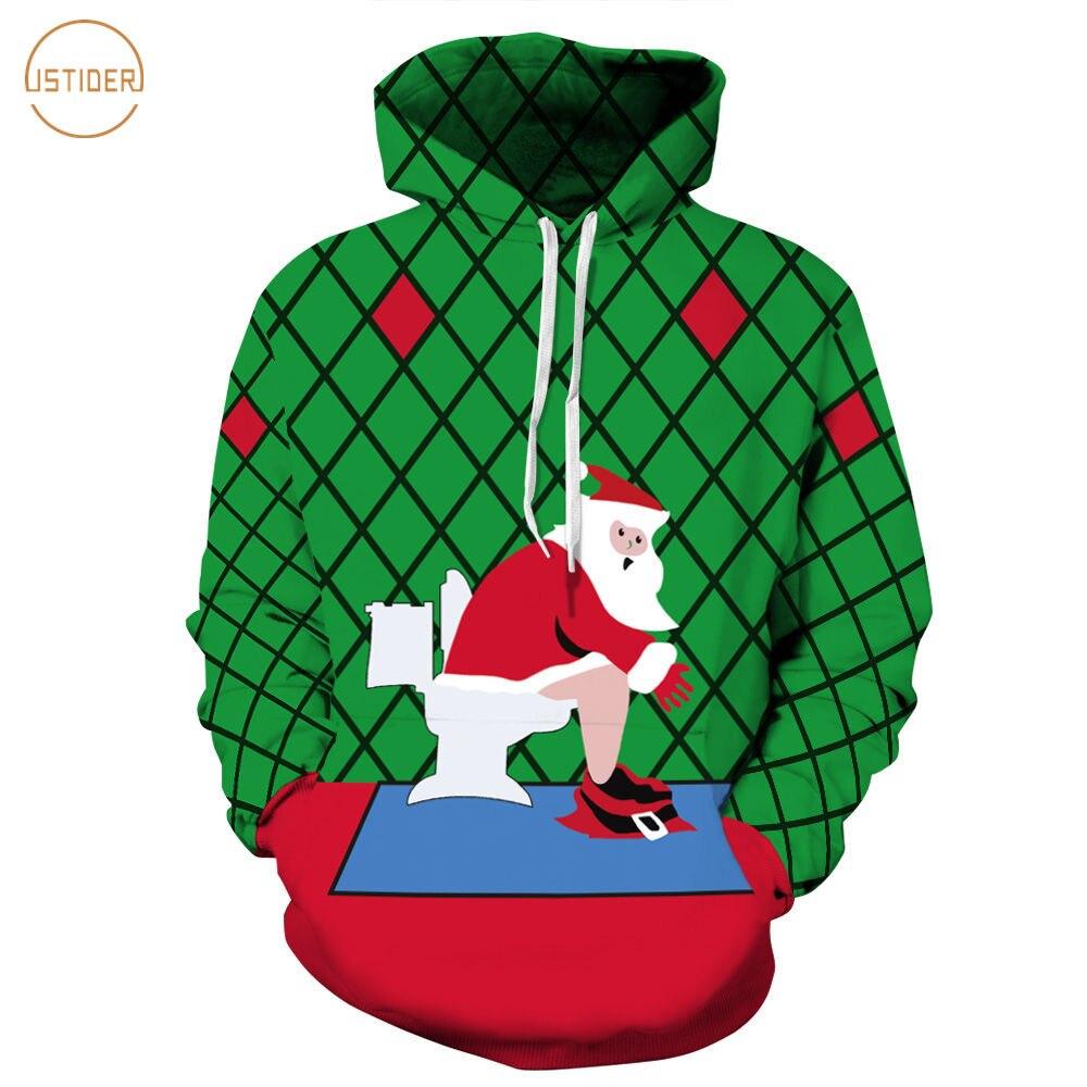 8447154cf60 ISTider Nieuwigheid Kerst Kleding 3D Print Santa Zittend op de Wc Grappige  Hoodies Sweatshirt Mannen/Vrouwen Plaid Rood Groen hoodie in ISTider  Nieuwigheid ...