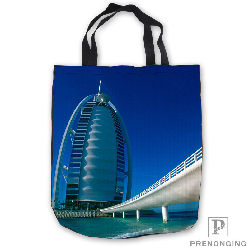 Custom Canvas Dubai_burjdubai Tote Shoulder Shopping Bag Casual Beach HandBag Daily Use Foldable Canvas #180713-03-26.