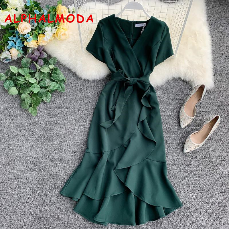 ALPHALMODA 2019 Summer Ladies Ruffled Short-sleeved Wrap Dress V-neck High  Waist Solid f6724d69c341