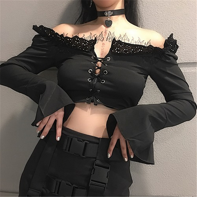Women New Off Shoulder Sexy Shirts Girl Flare Sleeve Hollow Out Blouse Crop Tops Cross Straps Expose Black Dark Gothic Shirts