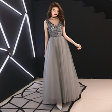 Beauty Emily Long Grey Luxury Beads Evening Dresses 2019 Backless V-Neck Floor-Length Formal Party Prom Gowns