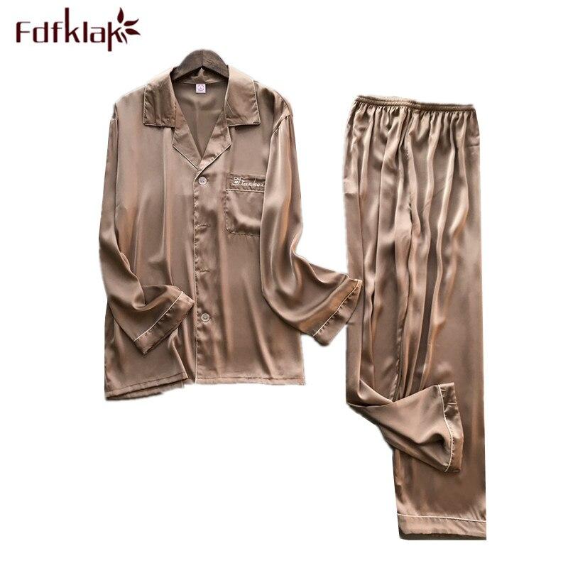 L-3XL Plus Size Pajamas Men Spring Autumn Pajama Set Long Sleeve Silk Satin Pijamas Casual Male Nightwear Suit Pyjama Homme