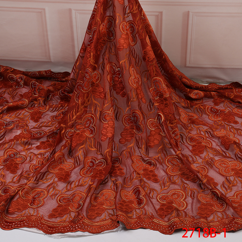 African Lace Fabric 2019 High Quality Nigerian Laces Fabrics With Stones French Tulle Velvet Lace Fabric For Women KS2718B-1