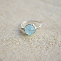 5A Aquamarine 925 Sterling Silver Winding Rings For Women Summer Style Fine Jewelry Vintage Retro Love