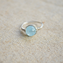 Blue Sea Treasu Natural Stone Birthstone Solitaire 925 Sterling Silver Wire Wrapped Wedding Ring Vintage Jewelry Fashion Love