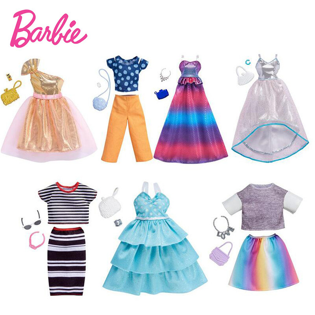 Original Barbie Doll Fashion Clothes Party Gown Necklace Outfits Doll Shoes Set  Accessories Girl's Birthday Christmas Gifts