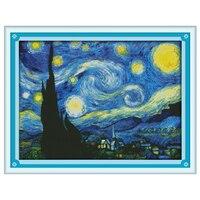 Звездная ночь Ван Гога Счетный вышивки крестом 11CT 14CT наборы вышивки крестиком наборы вышивка рукоделие