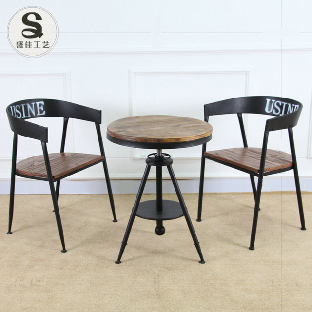 shengjia meubles rtro fer forg bois table basse ronde bar salon de th caf chaises - Table Ronde Bar
