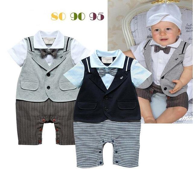 2016 novo bebê meninos verão cavalheiro romper mameluco bebe crianças listrada de manga curta gravata borboleta sólida romper traje de casamento