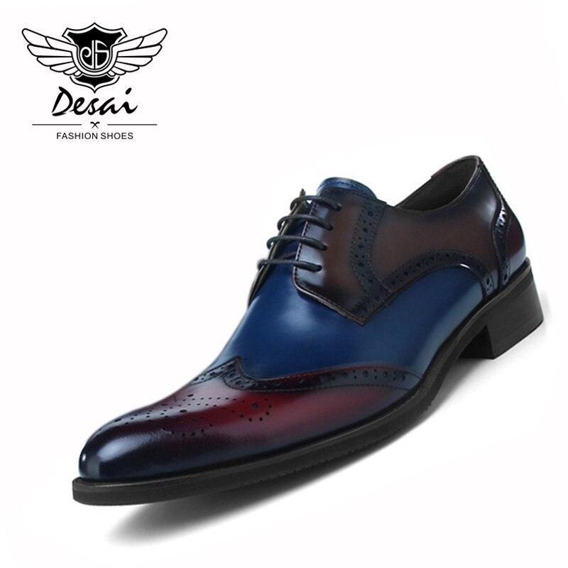 Новое поступление Для мужчин обувь из натуральной нешлифованной кожи Для мужчин резьба Туфли оксфорды из натуральной кожи Обувь с перфорац