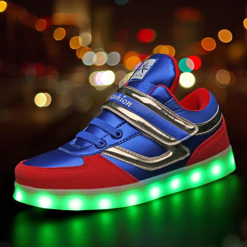 KEZREA brillante zapatillas de deporte con retroiluminación niños Led zapatos USB iluminado Krasovki luminosa zapatillas de deporte niños luz Led para los niños