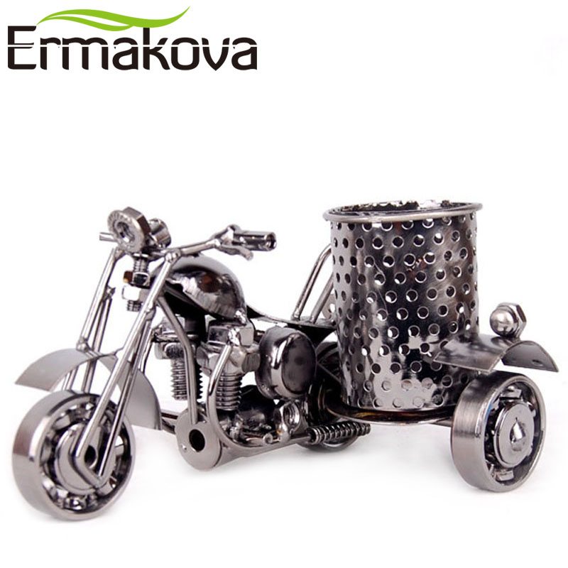 ERMKOVA Model kovového motocyklu Retro model motocyklu Tužka Cup Antique Motor Bicycle Pero držák kontejneru Home Office Decor