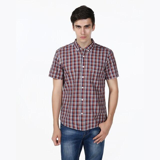 Fashion Classic Men Shirt Summer Cotton Shirt Plaid Grid Design Brand Breathable a thin Section Hawaiian Short Sleeved Shirt