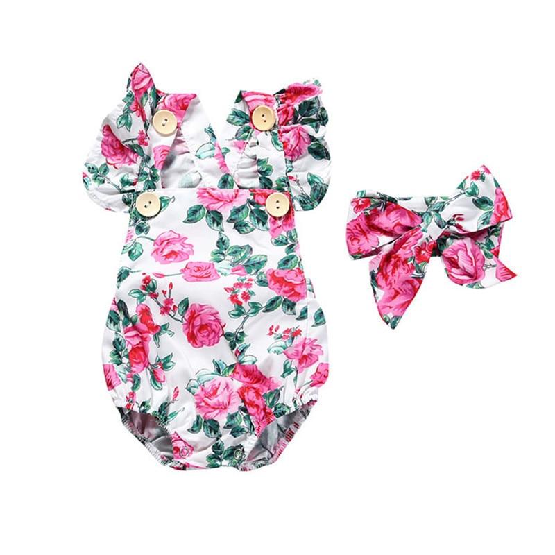 Fëmijët e porsalindur Veshjet me mëngë të shkurtra foshnje Veshja me mëngë të shkurtra Veshjet e vogla me mëngë të shtypura Kostume byrynxhyk 2019 Kostumet e verës dhe kokat e kokës