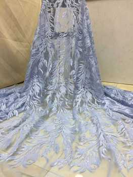 Latest Design Nigerian Lace Fabric High Quality African Embroidered Laces Fabric Wedding Dress French Tulle Lace Fabric  XZ150