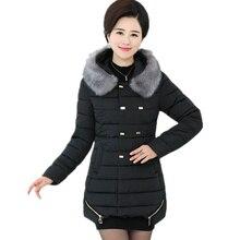 New Witer Fur Collar Hooded Long Down Jacket Women 2016 Cootton Winter Zipper Solid Pocket Coat Female Down Coat women outerwear