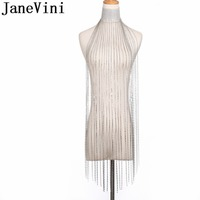 JaneVini Sparkly Arabic Rhinestones Bridal Necklace Silver Beaded Women Brides Sexy Female Collar Shoulder Chain Vintage Jewerly