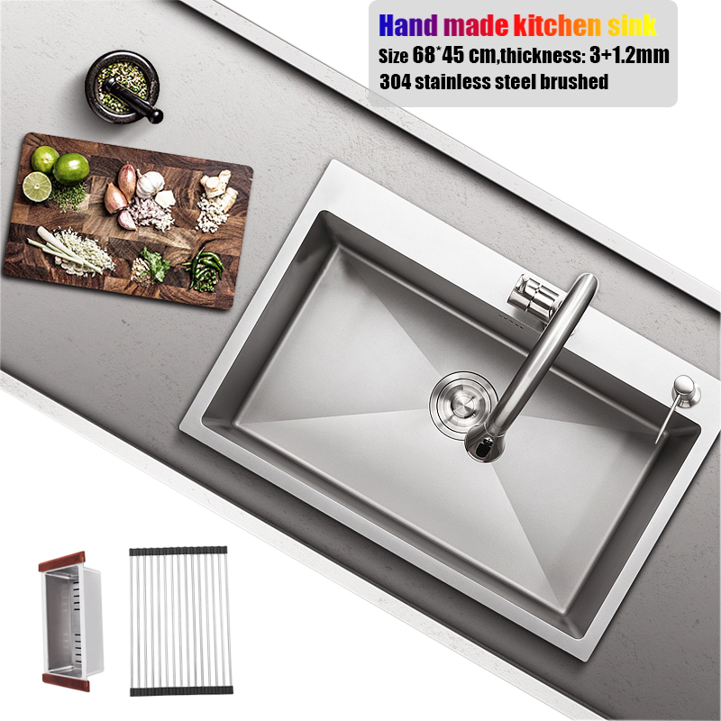 68*45cm Stainless Steel Kitchen Sink Big Size Topmount Single Bowl Hand Made Water Tank Kitchen Faucet Sink Accessories