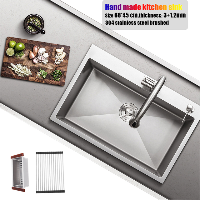 Big Kitchen Sinks Counter Designs 68 45cm Stainless Steel Sink Size Topmount Single Bowl Hand Made Water Tank Faucet Accessories