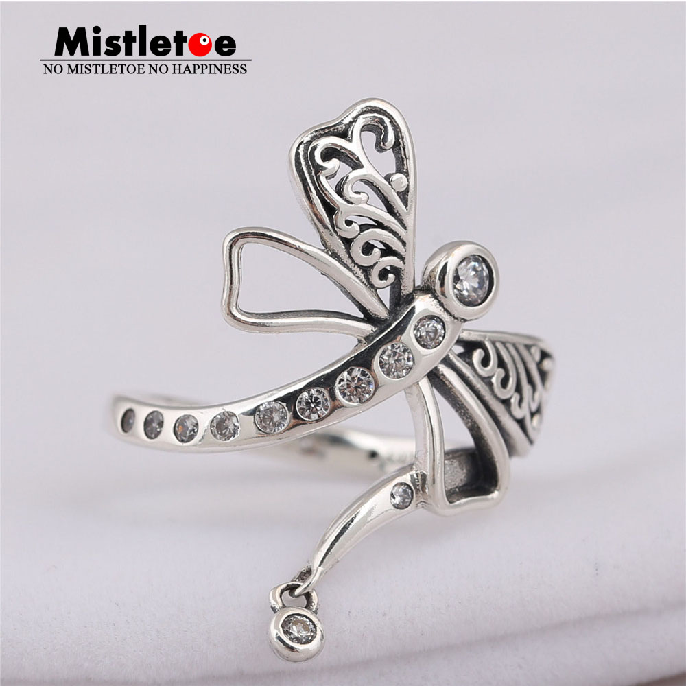 Mistletoe Authentic 925 sterling Silver Dreamy Dragonfly Ring, Clear CZ Compatible with European Jewelry цена и фото