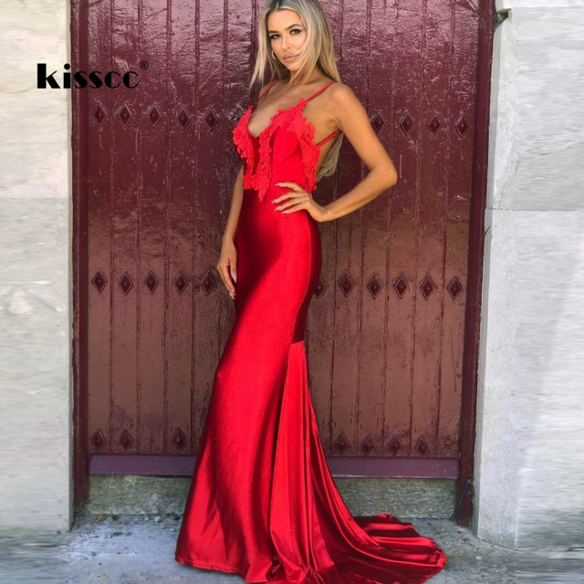 Y V Neck Strapless Fl Liques Red Maxi Dress Floor Length Open Back Sleeveless Mermaid Wedding