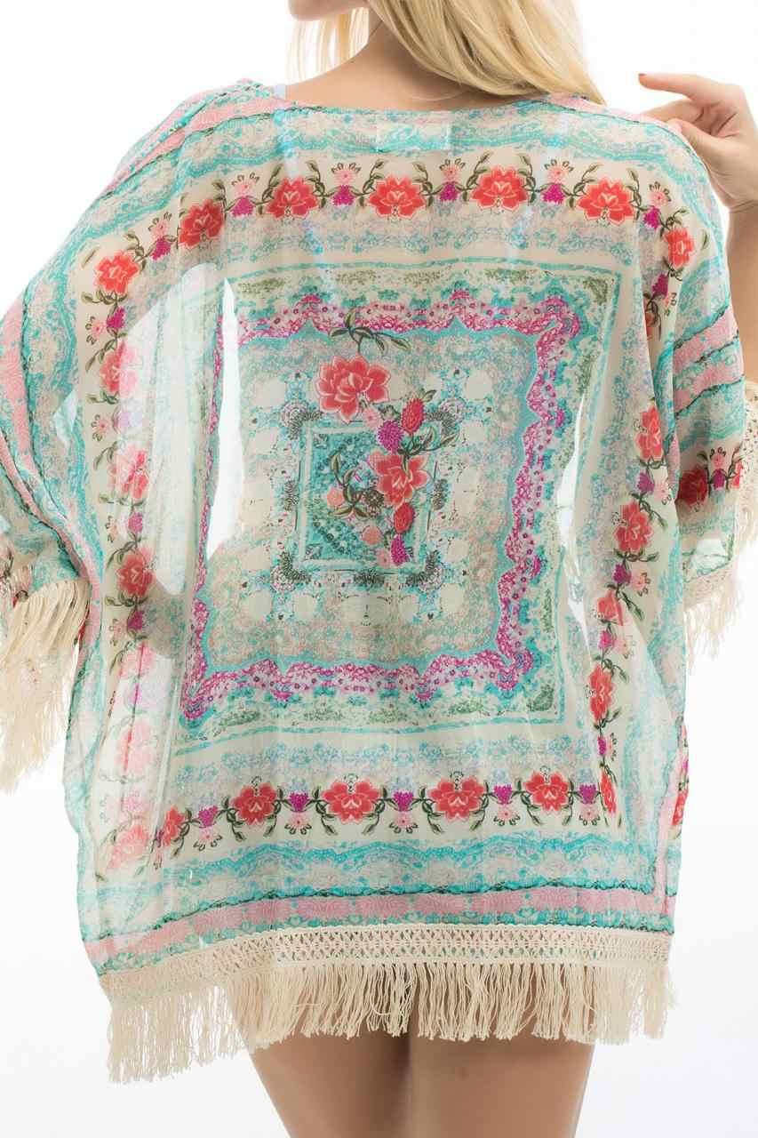 패션 새로운 여성 boho 프린지 꽃 기모노 카디건 tassels batwing 슬리브 비치 커버 케이프 자켓 코트