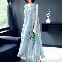 2018 Spring And Summer Chinese Style Silk Satin Print Dress Retro Temperament 100% Silk Dress Women Plus Size Dress