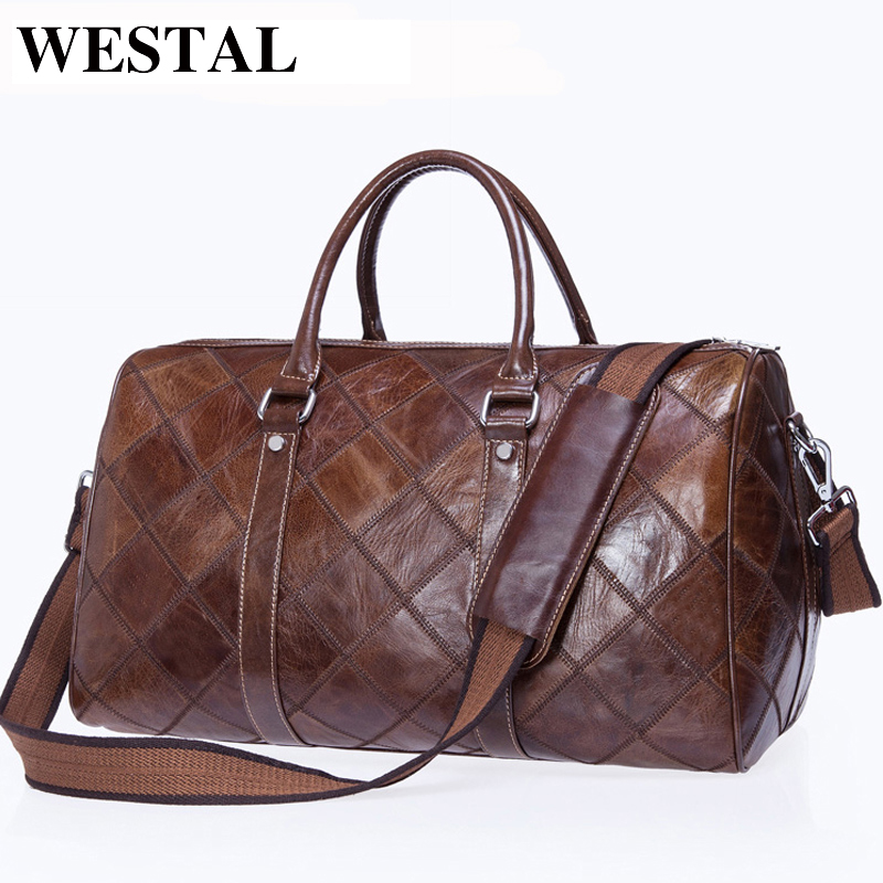 WESTAL Men Travel Bag for Luggage Men Genuine Leather Duffle Bag Suitcase Carry on Luggage Bags Big Weekend Bags Travel 8883 hot unisex women duffle travel luggage suitcase tote bag weekend handbag