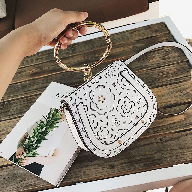 2017 Europe Style Fashion Ring Handbag Autumn New Hollow Out Flower Saddle Bags Women's Mini Shoulder Bags Leather Cross Body 2017 new style europe
