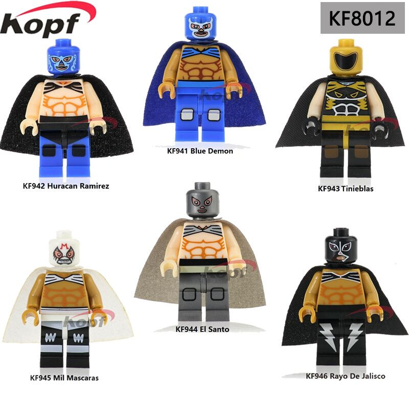 Super Heroes Mexico Fighter Blue Demon Huracan Ramirez Tinieblas Mil Mascaras Building Blocks Best Children Gift Toys KF8012 цены онлайн