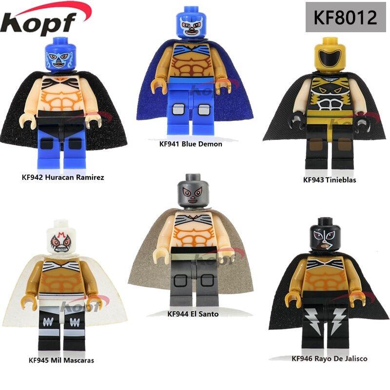 Super Heroes Mexico Fighter Blue Demon Huracan Ramirez Tinieblas Mil Mascaras Building Blocks Best Children Gift Toys KF8012 carlos rivera mexico