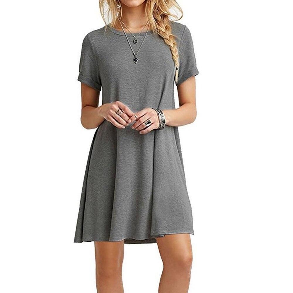 Sommer Mini Zelt Kleid Lässig Rundhals Grau Armee Grün schwarz Khaki Plain Basic Kurzarm Damen Kleider 2018 Frauen kleid